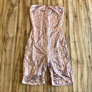 Fashion Nova Pink Sequin Bodysuit